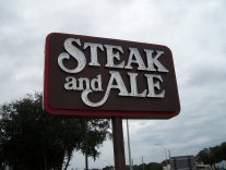 steak and ale sign after